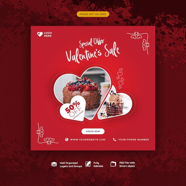 Valentijnsdag sjabloon voor spandoek Premium Psd