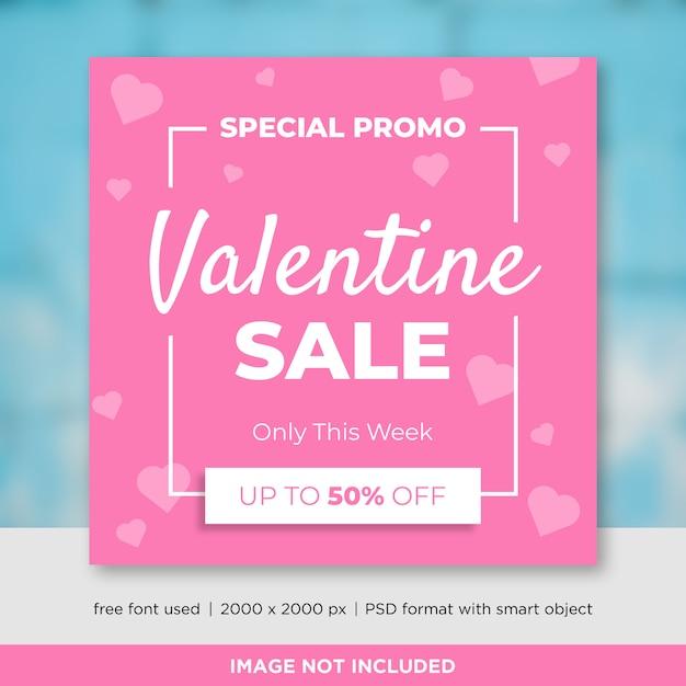 Valentijnsdag verkoop social media sjabloon voor spandoek Premium Psd