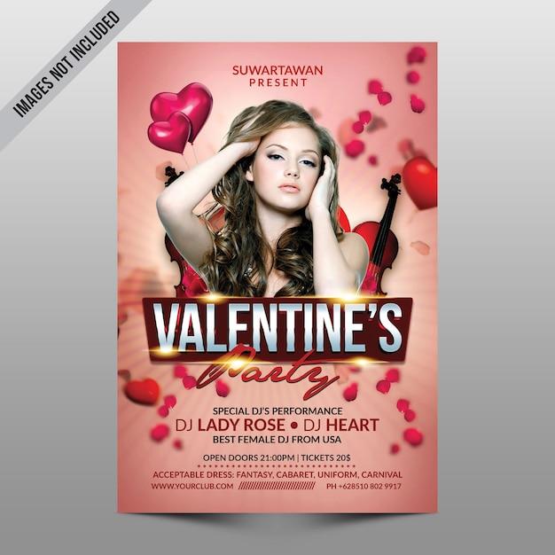 Valentine party flyer mockup Psd Premium