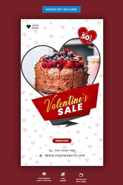 Valentine's verkoop instagram-verhaal Premium Psd