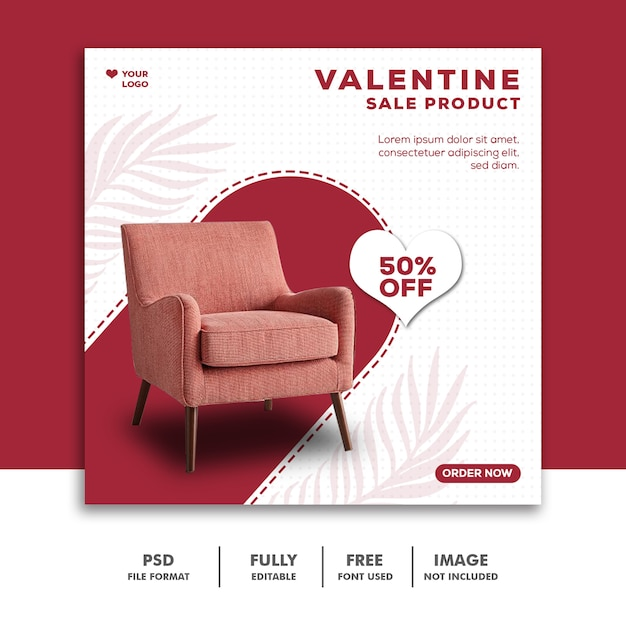 Valentine sale template instagram post valentine Psd Premium