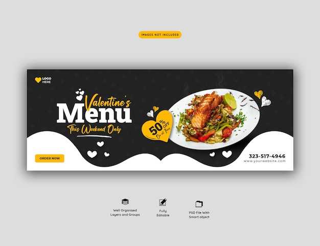 Valentine-voedselmenu en restaurant facebook omslagsjabloon Premium Psd