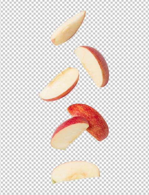 Vallende plak rijpe rode appel voor uw ontwerp Premium Psd