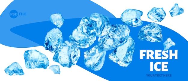 Vallende stukjes ijs, hoop gemalen ijs Premium Psd