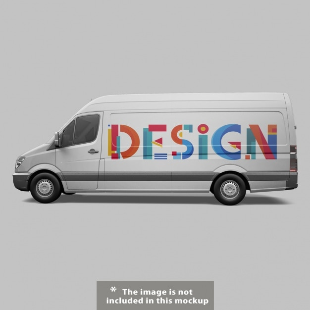 Van mock up design Gratis Psd