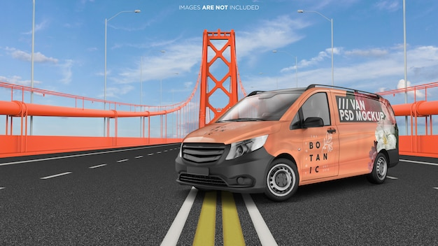 Van vehicle on the golden bridge esterno psd mockup Psd Premium
