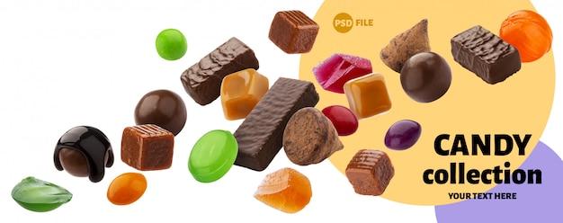 Varie caramelle di gelatina, caramello, lecca-lecca isolati Psd Premium