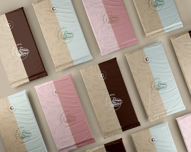 Varietà di imballaggi in plastica per cioccolato Psd Gratuite