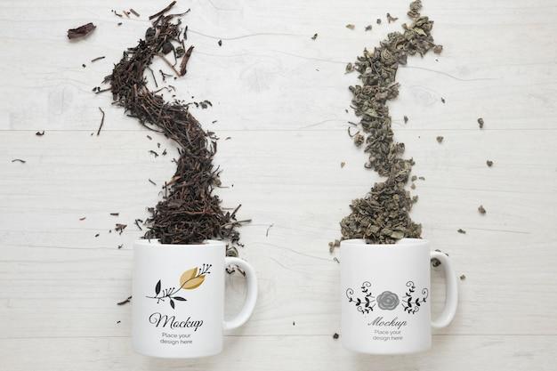 Varios tipos de té de maquetas de tazas volcadas PSD gratuito