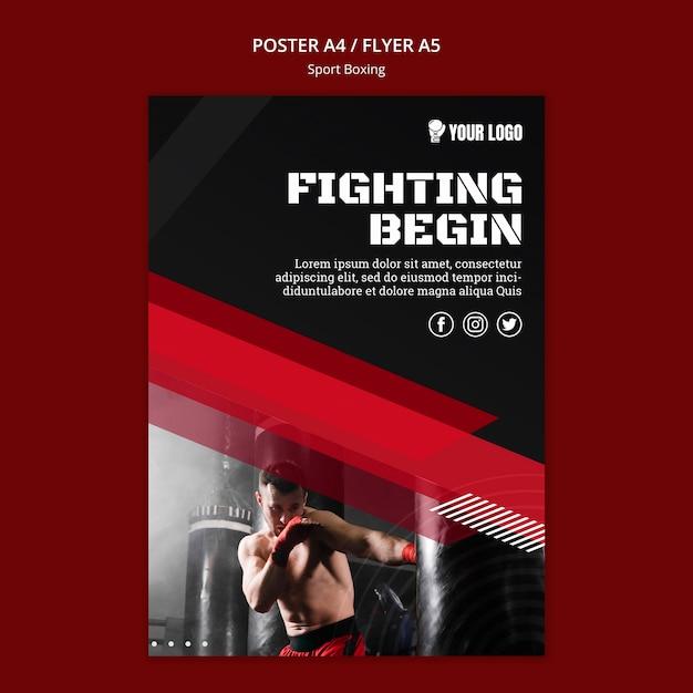 Vechten begint flyer print sjabloon Gratis Psd
