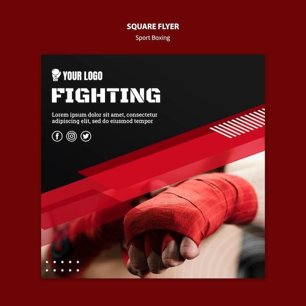 Vechten boksen vierkante flyer print sjabloon Gratis Psd