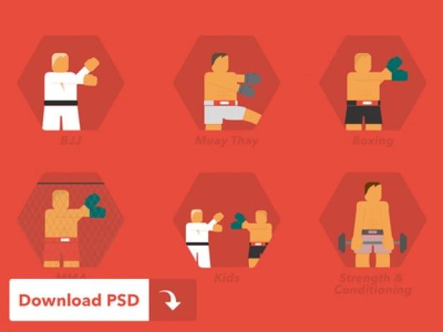 Vechtsporten pictogrammen Gratis Psd