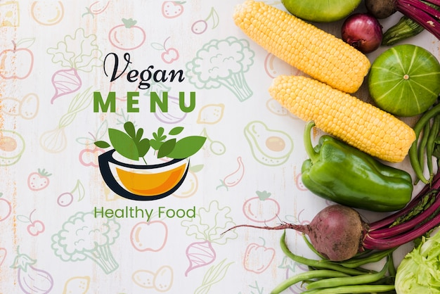 Vegan menuachtergrond met kopie ruimte Gratis Psd