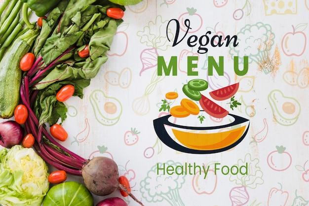 Veganistisch menu met exemplaar ruimteachtergrond Gratis Psd