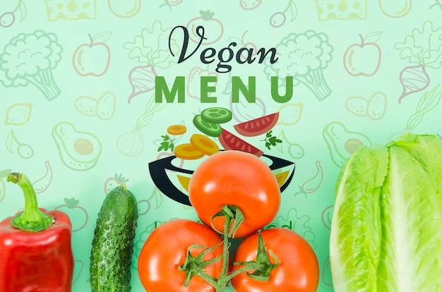 Veganistisch menu met verse groenten Gratis Psd