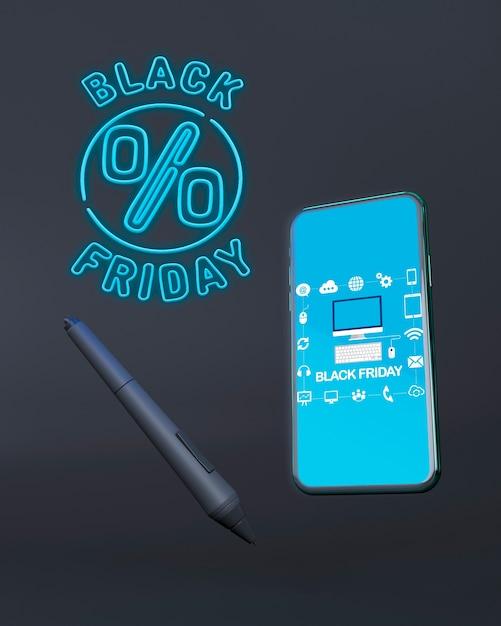 Venerdì nero telefono mock-up con luci al neon blu Psd Gratuite
