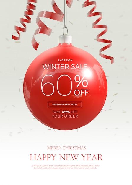 Venta de navidad banner vertical o plantilla de póster PSD Premium