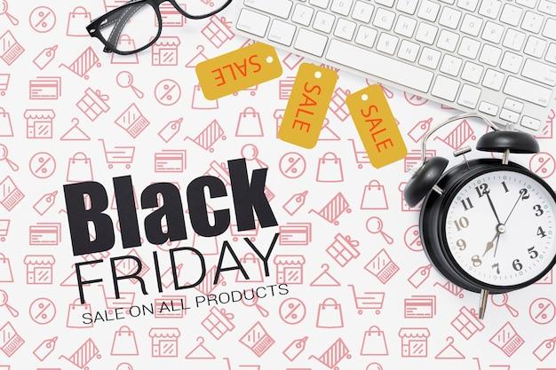 Ventas promocionales del lunes negro cibernético PSD gratuito