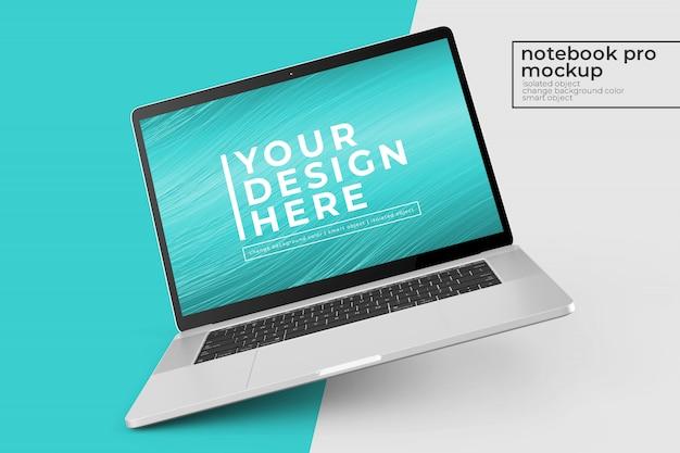 Veranderbare, gemakkelijk te bewerken 15-inch personal pc pro psd-modellen ontwerps in links gedraaid en middenweergave Premium Psd