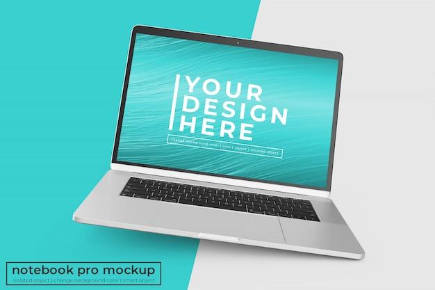 Veranderlijk hoogwaardig mobiel 15'4-inch laptop pro psd mockups ontwerp in een rechte hoekpositie Premium Psd
