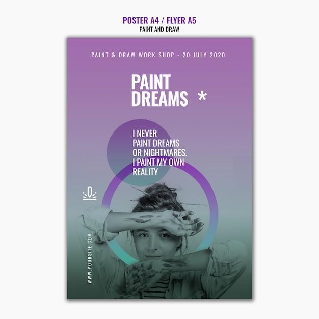 Verf droomt poster sjabloon met foto Gratis Psd
