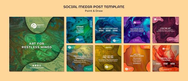 Verf en teken social media-berichten Premium Psd
