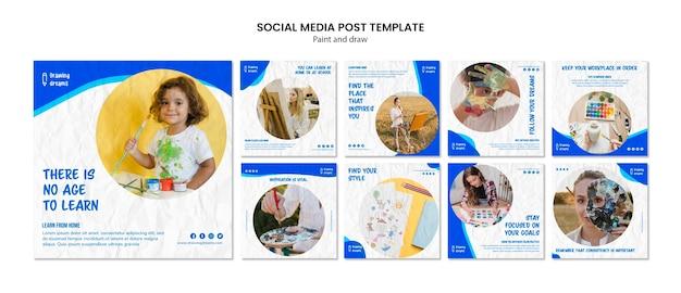 Verf en teken social media postsjabloon Gratis Psd
