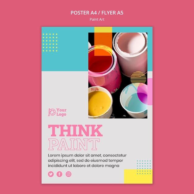 Verf kunst concept folder sjabloon Gratis Psd