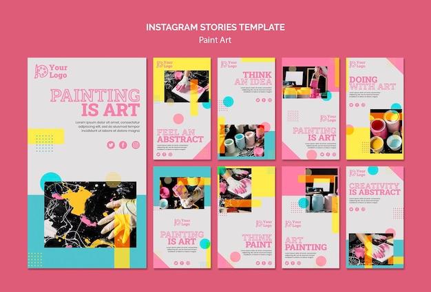 Verf kunst concept instagram verhalen sjabloon Gratis Psd