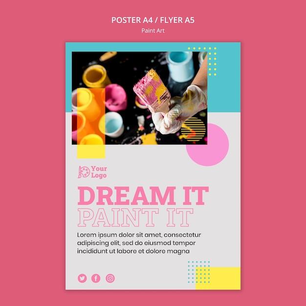Verf kunst concept poster sjabloon Gratis Psd
