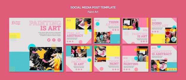 Verf kunst concept sociale media post sjabloon Gratis Psd