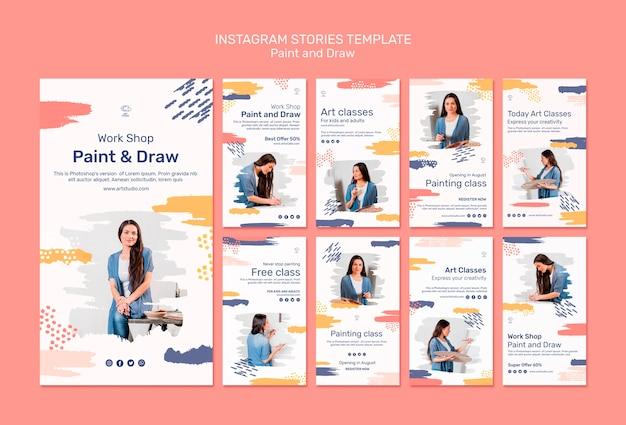 Verf & teken concept instagram verhalen sjabloon Gratis Psd