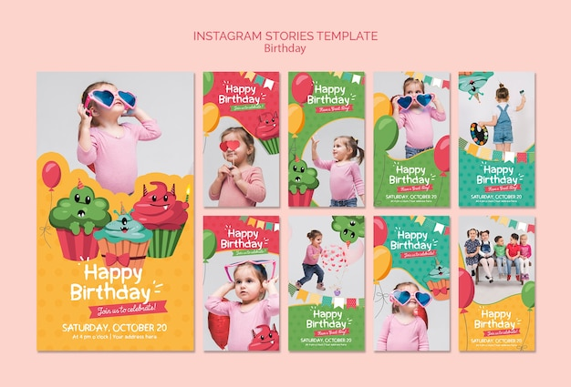 Verjaardag instagram verhalen sjabloon Gratis Psd