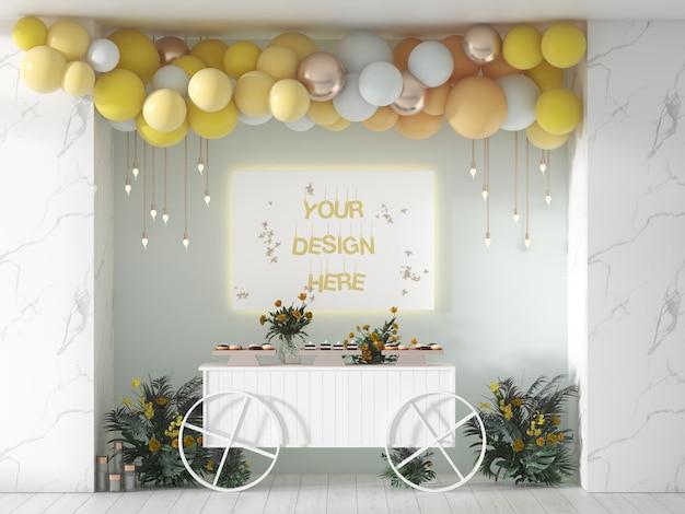 Verjaardag of bruiloft banner versierd met ballonnen Premium Psd
