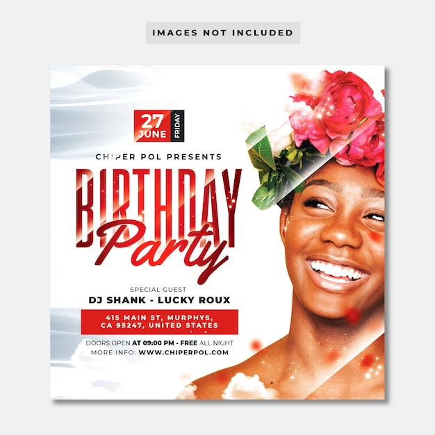 Verjaardag partij flyer Premium Psd