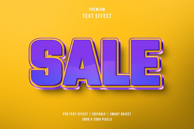 Verkoop 3d teksteffect Premium Psd