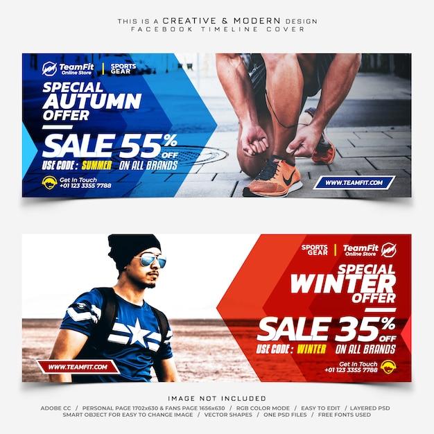 Verkoop sportuitrusting facebook tijdlijn dekking banners Premium Psd