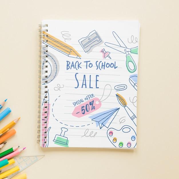 Verkoop voor items terug naar school met 50% korting Gratis Psd