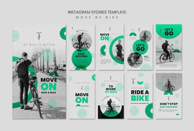 Verplaats per fiets instagramverhalen Gratis Psd