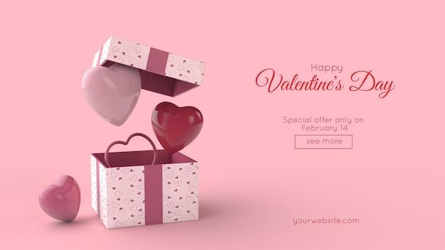 Verrassingsdoos en vliegende rode en roze harten in 3d illustratie Premium Psd