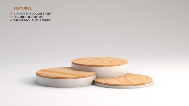 Verschillende hoogtes van minimalistische houten podia in 3d-rendering Premium Psd