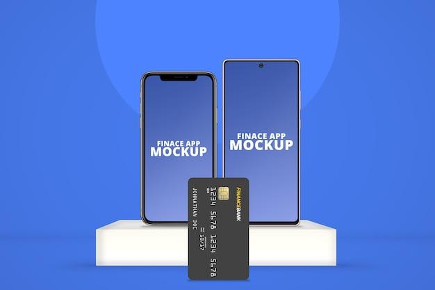 Verschillende os-smartphone met verticaal plastic kaartmodel Premium Psd