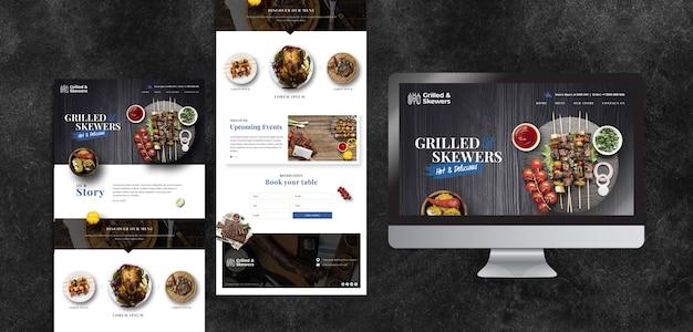 Verschillende sjablonen voor humeurig eten restaurant met scherm Gratis Psd