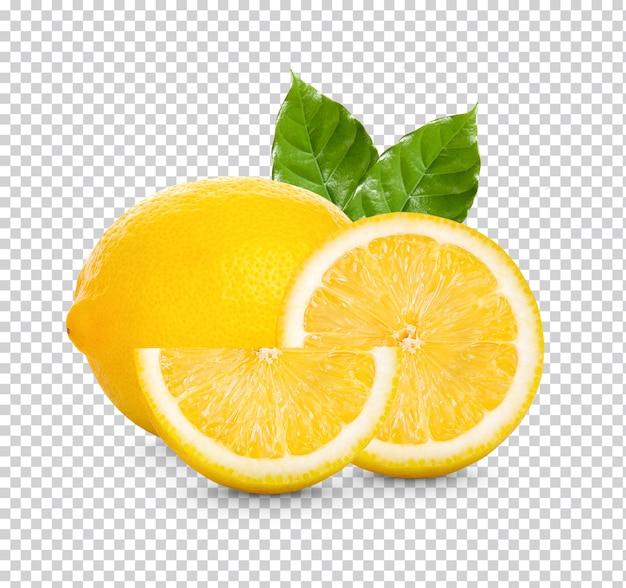 Verse citroen met groene geïsoleerde bladeren Premium Psd