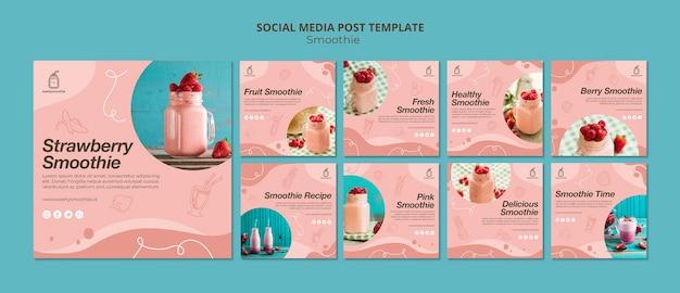 Verse smoothie-berichten op sociale media Gratis Psd