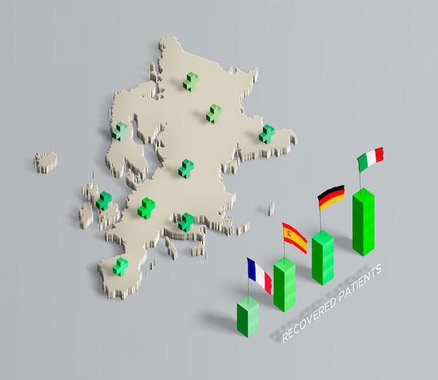 Verspreiding van coronaviruskaart europese unie Gratis Psd