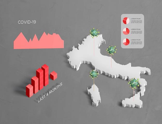 Verspreiding van coronaviruskaart italië Gratis Psd