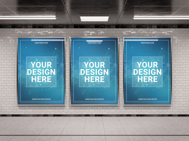 Verticaal ondergronds aanplakbord drie in tunnelmodel Premium Psd
