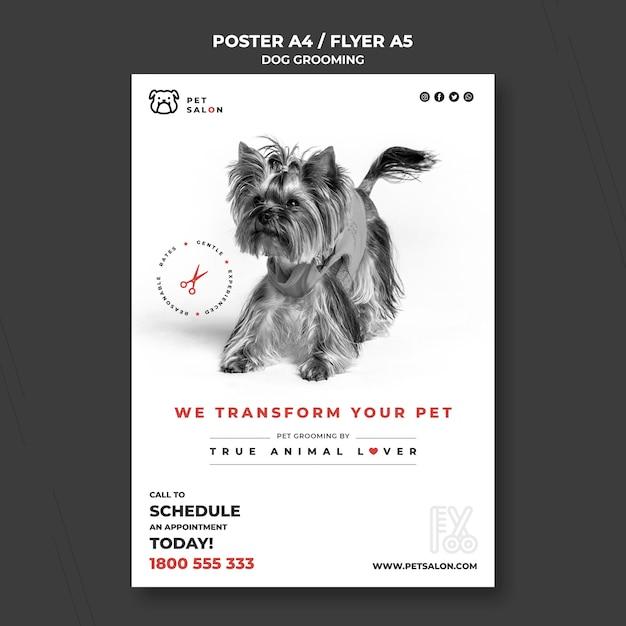 Verticale flyer-sjabloon voor het verzorgen van huisdieren Gratis Psd