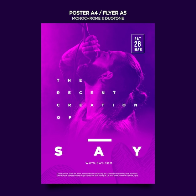 Verticale poster in duotoon met muzikanten in concert Gratis Psd